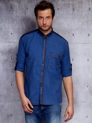 Ciemnoniebieska koszula męska w drobny wzór