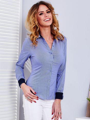 Ciemnoniebieska koszula w drobne paski