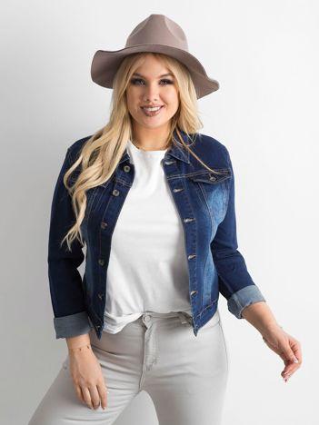 Ciemnoniebieska kurtka jeansowa PLUS SIZE