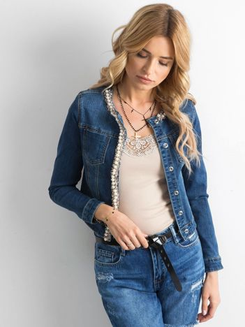 Ciemnoniebieska kurtka jeansowa z aplikacją