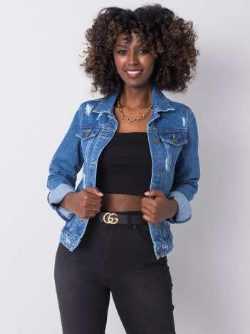 Ciemnoniebieska kurtka jeansowa z przetarciami Raquel RUE PARIS