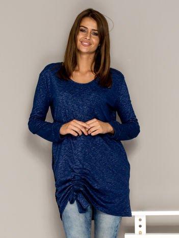 Ciemnoniebieska melanżowa tunika ze ściągaczem