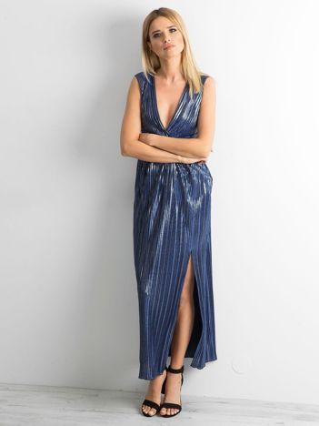 Ciemnoniebieska plisowana sukienka maxi
