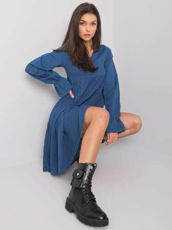 Ciemnoniebieska sukienka damska z falbaną Abbeville RUE PARIS