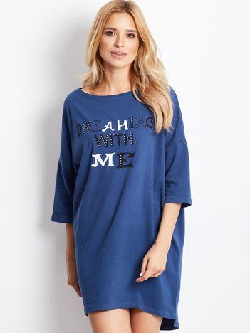 Ciemnoniebieska sukienka dresowa z nadrukiem