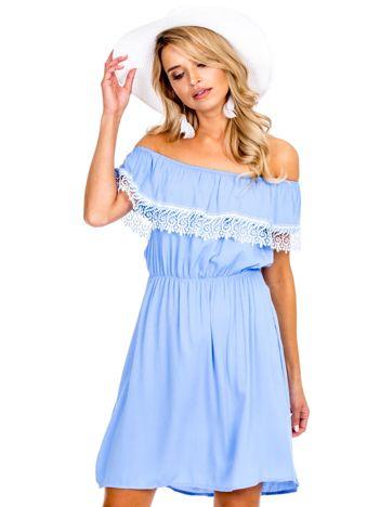 Ciemnoniebieska sukienka hiszpanka mini z falbanką przy dekolcie