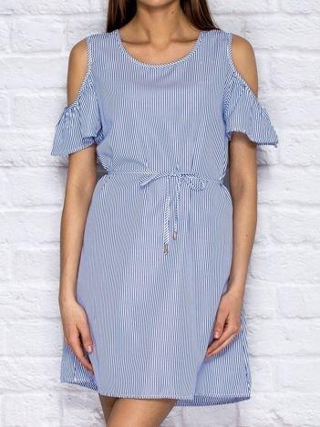 Ciemnoniebieska sukienka letnia cut out w paski