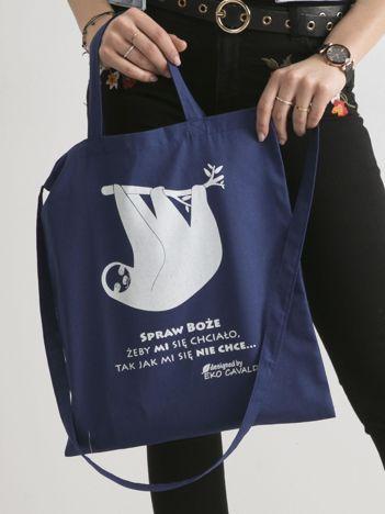 Ciemnoniebieska torba bawełniana z leniwcem i napisem