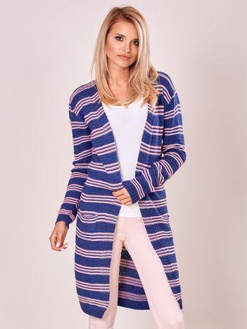 Ciemnoniebieski otwarty sweter w prążek