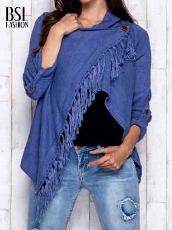 Ciemnoniebieski otwarty sweter z podwijanymi rękawami