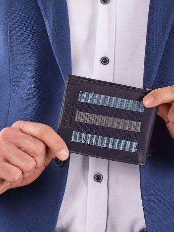 Ciemnoniebieski skórzany portfel z przeszyciami