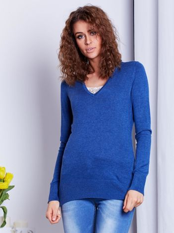 Ciemnoniebieski sweter V-neck