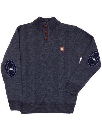 Ciemnoniebieski sweter dla chłopca w warkocze