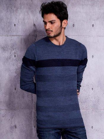 Ciemnoniebieski sweter męski z kontrastową wstawką