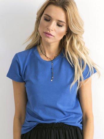 Ciemnoniebieski t-shirt damski