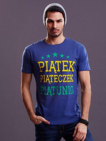 Ciemnoniebieski t-shirt męski PIĄTEK PIĄTECZEK