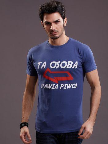 Ciemnoniebieski t-shirt męski z zabawnym napisem