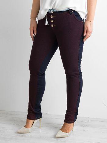 Ciemnoniebieskie jeansy z dzianinową wstawką PLUS SIZE