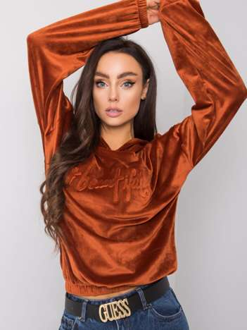 Ciemnopomarańczowa bluza welurowa Adina