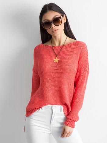 Ciemnopomarańczowy sweter z metaliczną nicią
