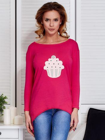 Ciemnoróżowa asymetryczna bluzka z babeczką
