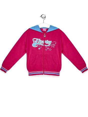 Ciemnoróżowa bluza dla dziewczynki z kolorowym nadrukiem