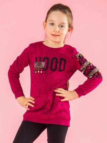 Ciemnoróżowa bluza dziewczęca z nadrukiem i koralikami
