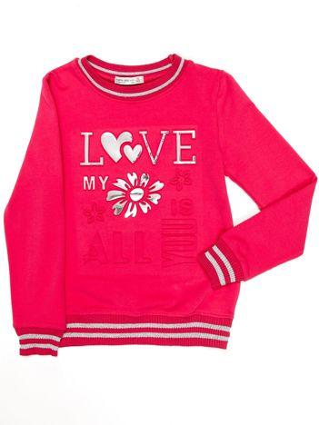 Ciemnoróżowa bluza dziewczęca z wypukłą aplikacją