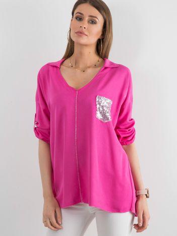 Ciemnoróżowa bluzka damska z cekinową kieszenią