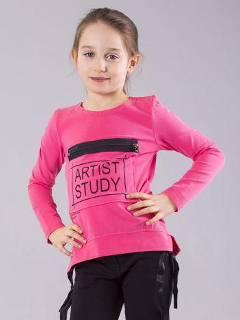 Ciemnoróżowa bluzka dziewczęca z nadrukiem i kieszenią