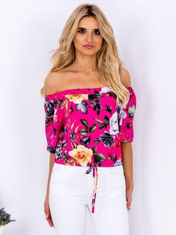 Ciemnoróżowa bluzka hiszpanka floral print
