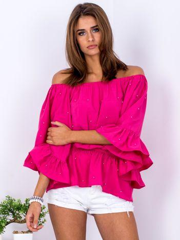 Ciemnoróżowa bluzka z szerokimi rękawami i perełkami