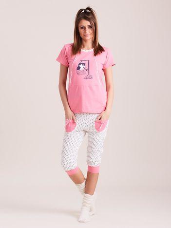 Ciemnoróżowa dwuczęściowa piżama w groszki