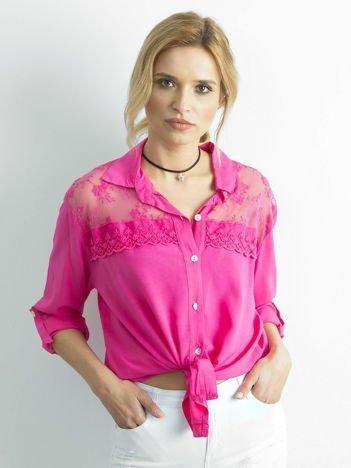 Ciemnoróżowa koszula z długim rękawem