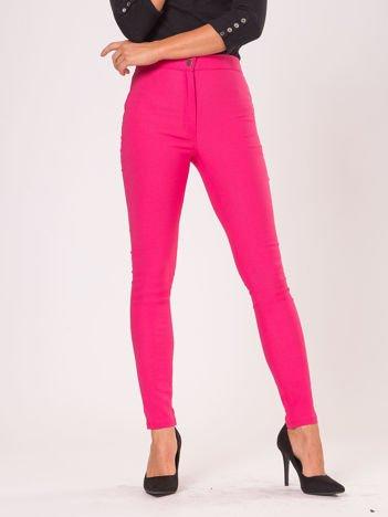 Ciemnoróżowe dopasowane spodnie high waist