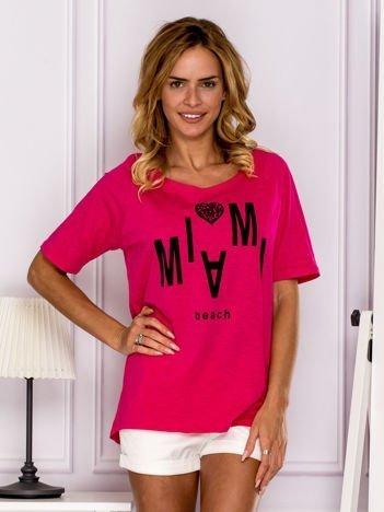 Ciemnoróżowy t-shirt MIAMI BEACH