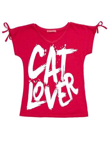Ciemnoróżowy t-shirt dla dziewczynki CAT LOVER