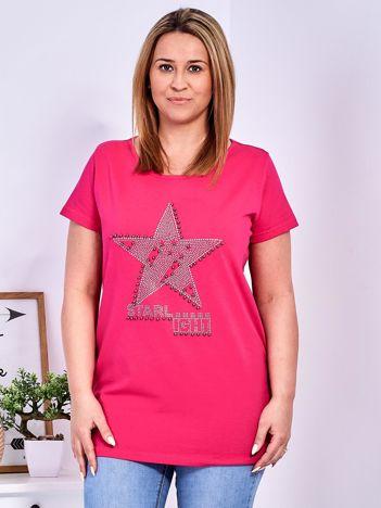 Ciemnoróżowy t-shirt z błyszczącą gwiazdą PLUS SIZE