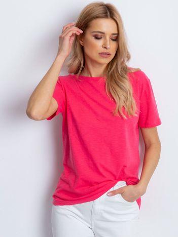 Ciemnoróżowy t-shirt z głębokim dekoltem z tyłu