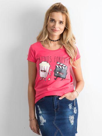 Ciemnoróżowy t-shirt z nadrukiem