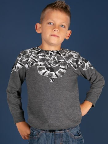 Ciemnoszara bawełniana bluza dziecięca z nadrukiem węży