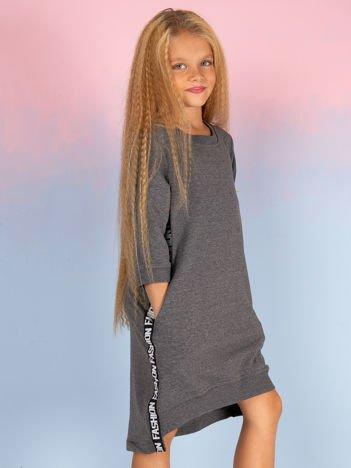 Ciemnoszara bawełniana sukienka dla dziewczynki