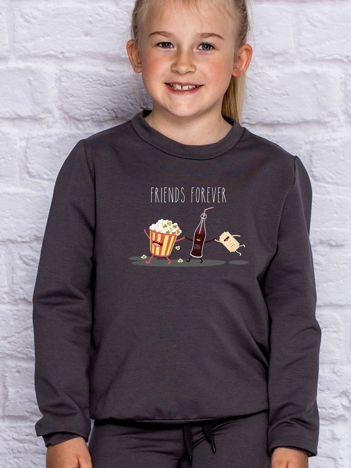 Ciemnoszara bluza dziecięca z popcornem FRIENDS FOREVER