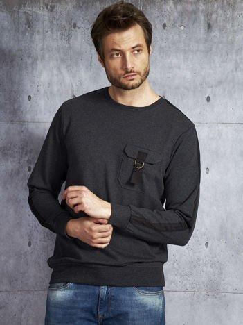 Ciemnoszara bluza męska z kieszenią