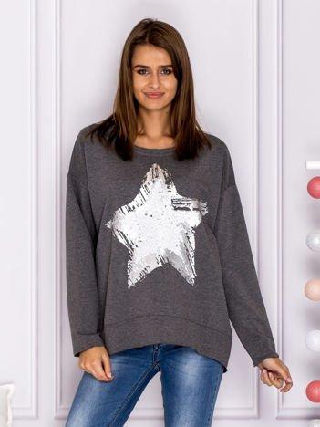 Ciemnoszara bluza z cekinową gwiazdą