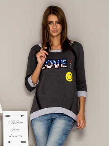 Ciemnoszara bluza z cekinowym napisem LOVE i kokardami z tyłu