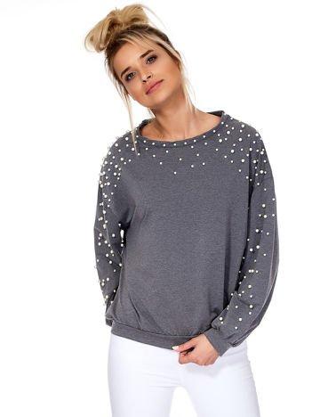Ciemnoszara bluza z perełkami
