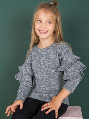 Ciemnoszara bluzka dziewczęca z falbankami na rękawach