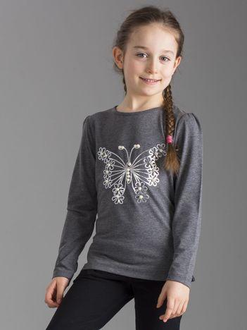 Ciemnoszara bluzka dziewczęca z perełkami