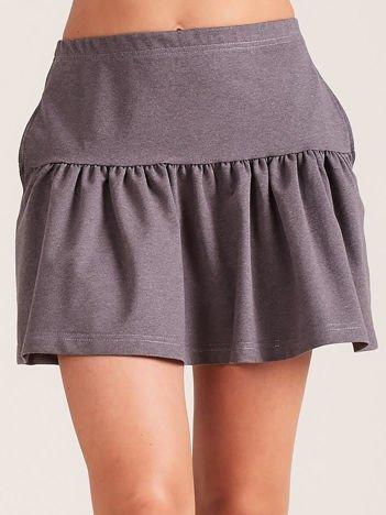 Ciemnoszara dresowa spódnica z falbaną
